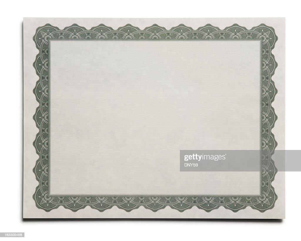 Blank Certificate : Stock Photo
