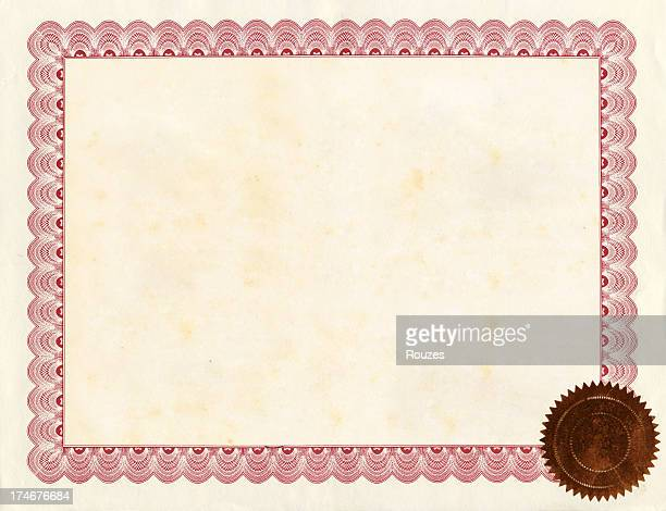 a blank certificate with a border and seal - diploma stock photos and pictures