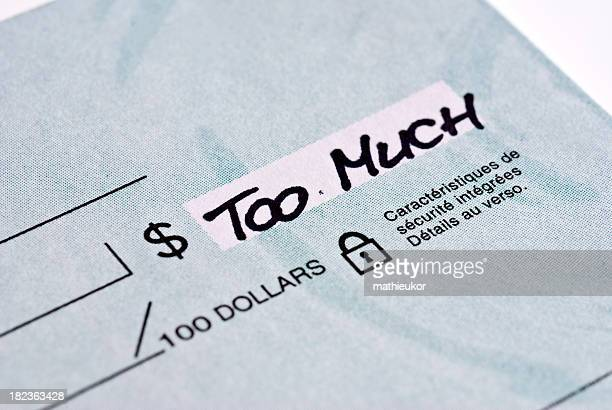 blank check...too much - excess stock photos and pictures