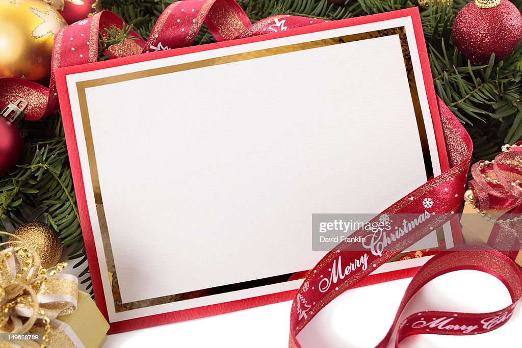 blank christmas card tree ribbon and decorations highres