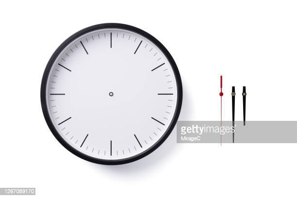 blank clock face with clock hands - wall clock stock pictures, royalty-free photos & images
