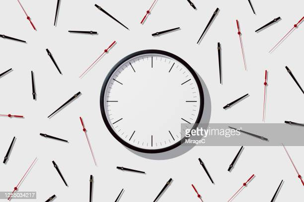 blank clock face with separated hands - dag bildbanksfoton och bilder