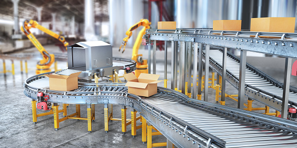 Blank conveyors on a blurred factory background. 3d illustration 1162340507