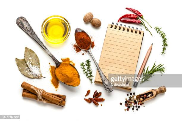 blank cookbook and spices - pepper seasoning stock photos and pictures