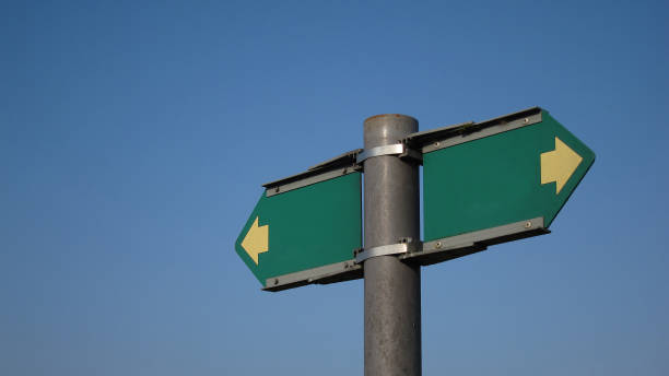 Blank Directional Sign Pointing Both Ways on a Post