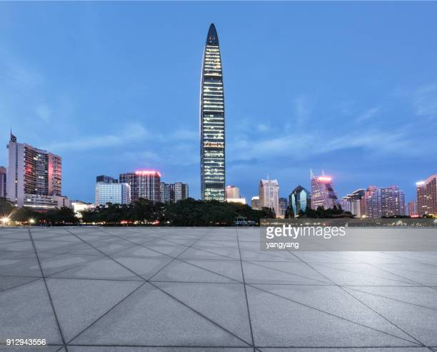 blank empty floors and city skyscrapers - neo classical stock pictures, royalty-free photos & images
