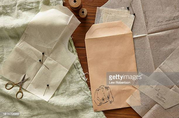 Blank envelope and clothing patterns