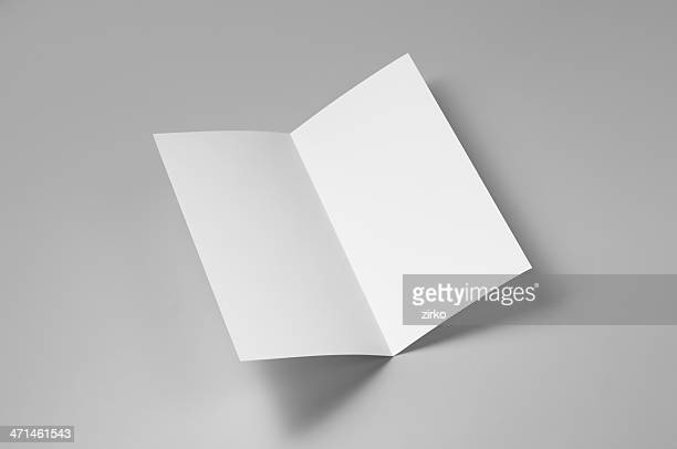 blank flyer, 4-page, single fold - flyer leaflet stock photos and pictures