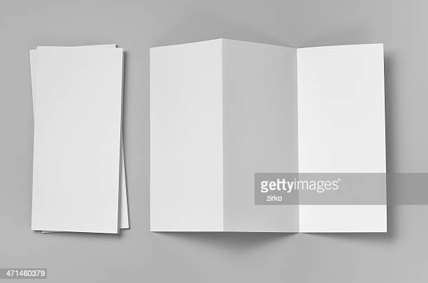 blank flyer, 6-page, z-fold (accordion) - flyer leaflet stock photos and pictures