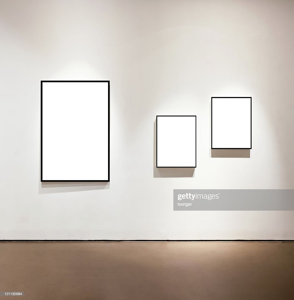 Blank frames on the wall at art gallery : Stock Photo
