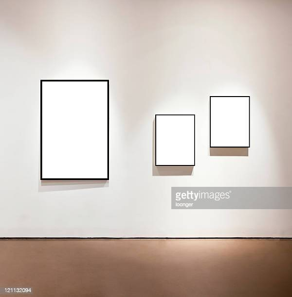 blank frames on the wall at art gallery - three objects stock pictures, royalty-free photos & images