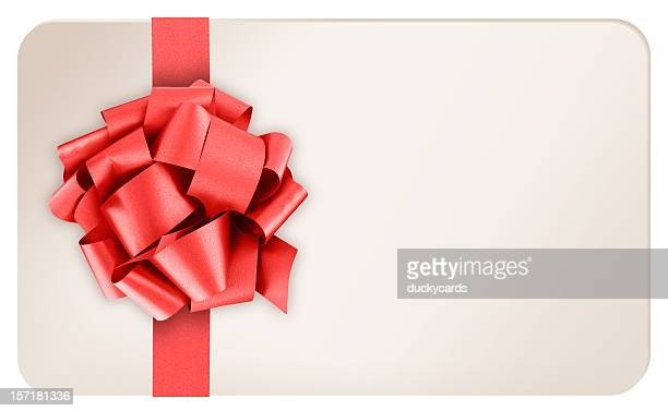 Blank Gift Card with Red Ribbon Bow on White Background