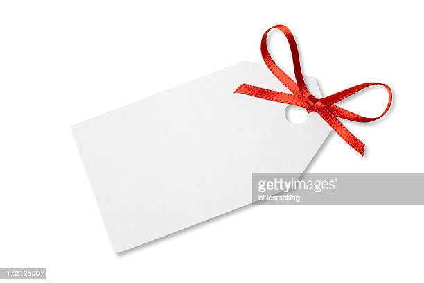 blank gift  or price tag on white with clipping path - greeting card bildbanksfoton och bilder