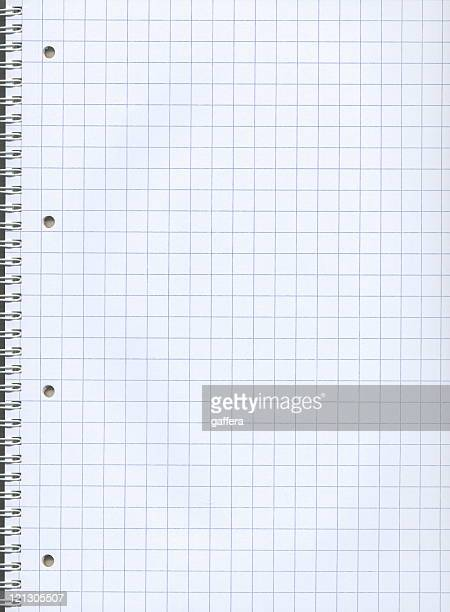 Blank graph paper of a notebook with spiral