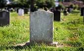 Blank gravestone with other graves in the background