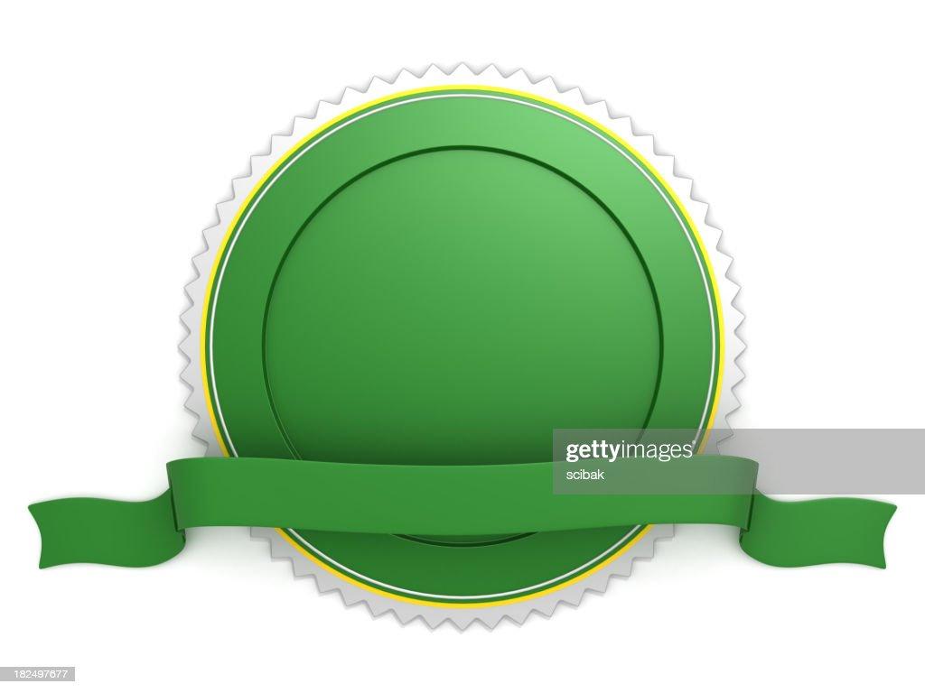 Blank green badge with ribbon : Stock Photo