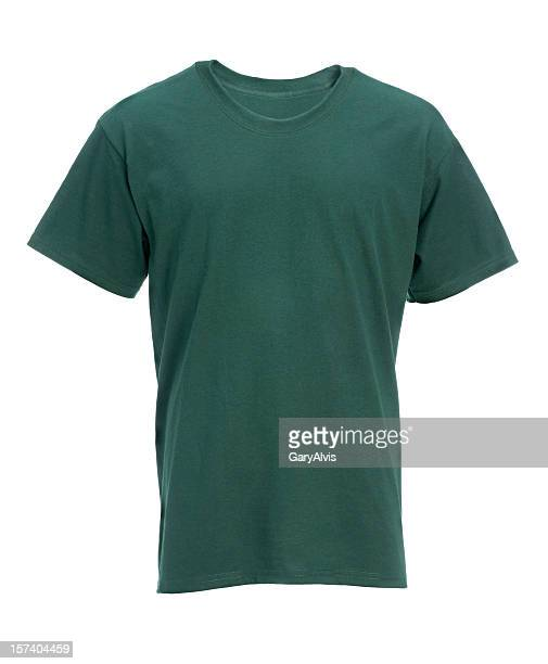 Blank green t-shirt front-isolated on white w/clipping path