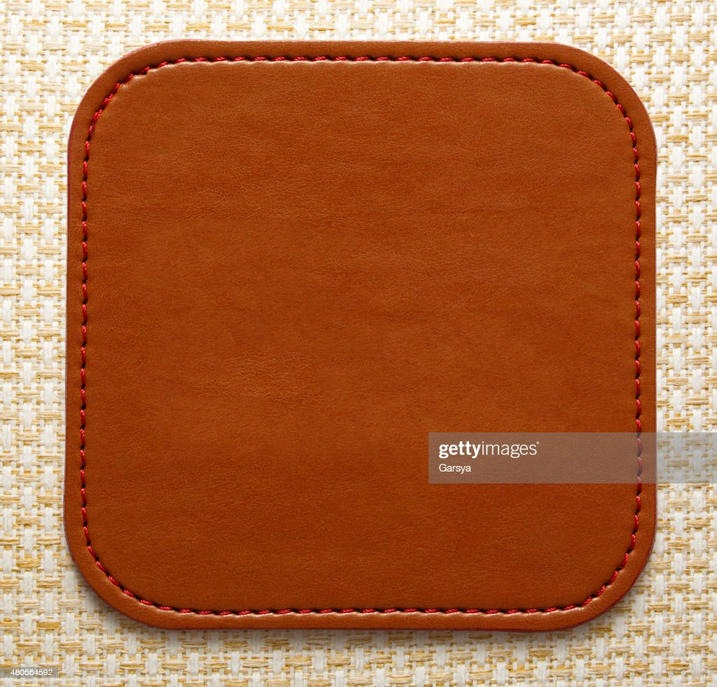 Blank leather brown label : Stock Photo