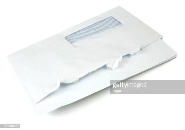 Blank letter in opened business envelope