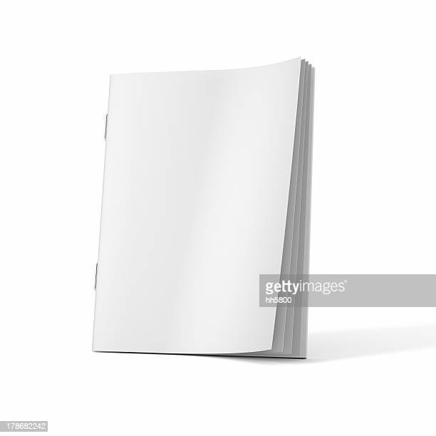 a blank magazine book on a white background - magazine page stock photos and pictures