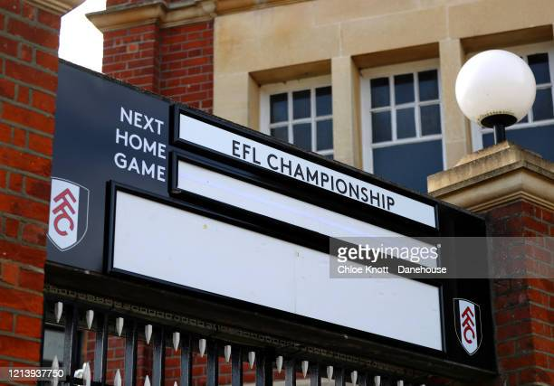 A blank match day sign outside of Craven Cottage home of Fulham FC is seen as football in England remains suspended due to Covid19 on March 21 2020...