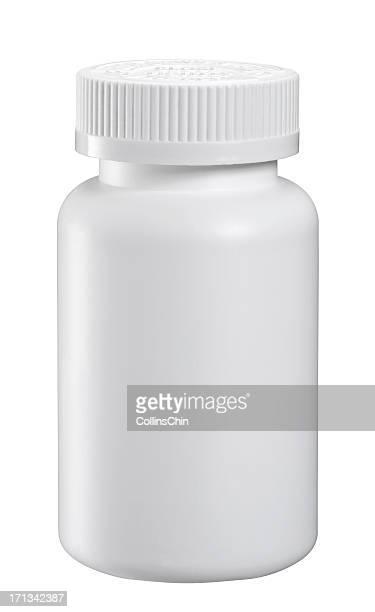 blanco medicamento botella - botella fotografías e imágenes de stock