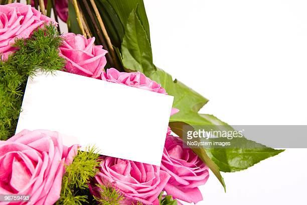 Blank message Karte und Rosa Rosen