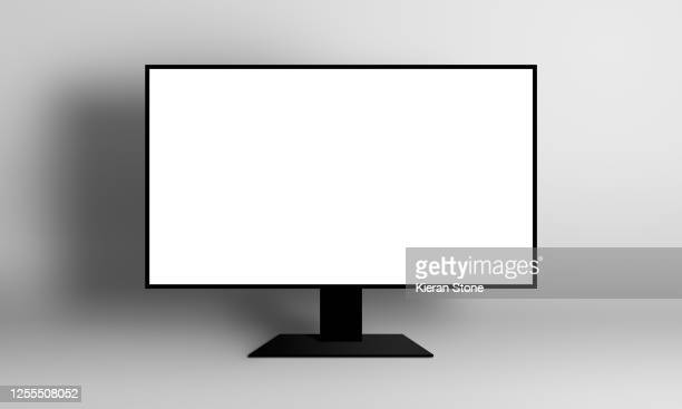 blank monitor screen illustration - beeldscherm stockfoto's en -beelden