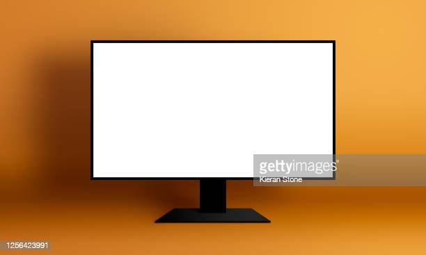 blank monitor screen - computerbildschirm stock-fotos und bilder