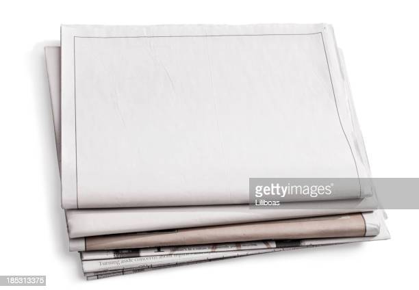 blank newspaper isolated on white - blank stock pictures, royalty-free photos & images