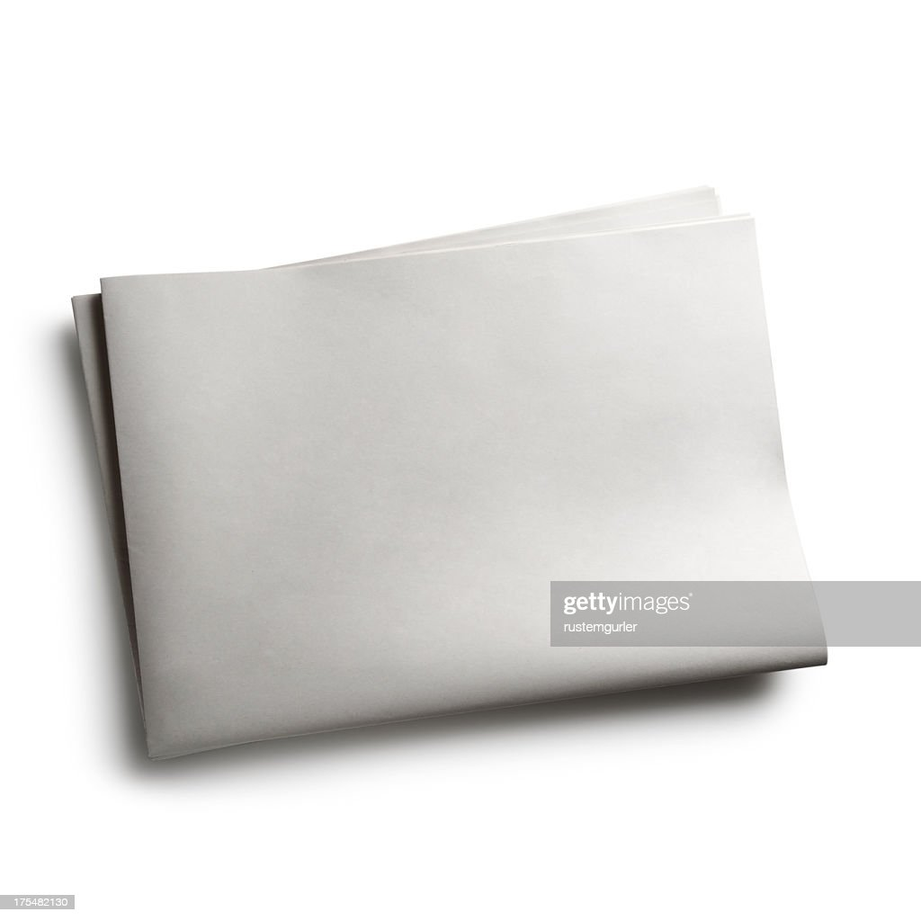 blank newspaper with no words on white background stock photo