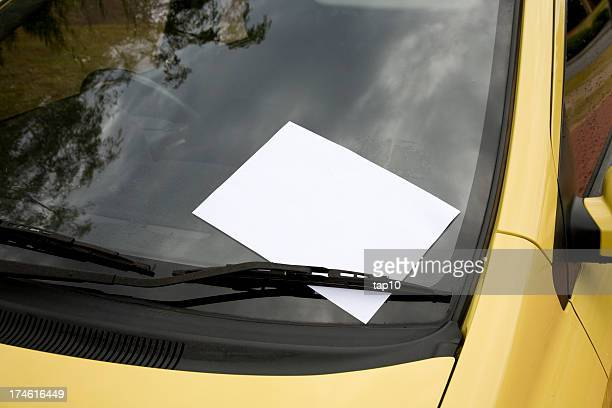 blank note on windscreen. - flyer leaflet stock photos and pictures