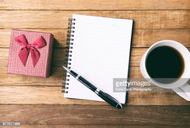 Blank Note pad with Gift Box, Pen and Coffee