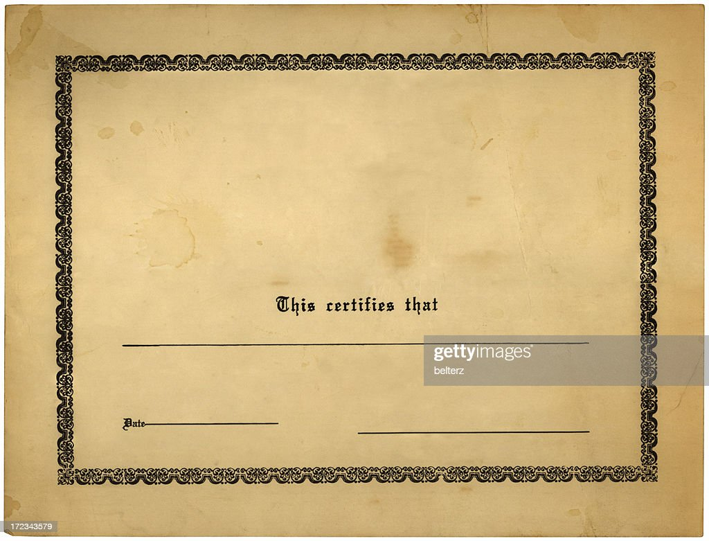 blank old certificate : Stock Photo