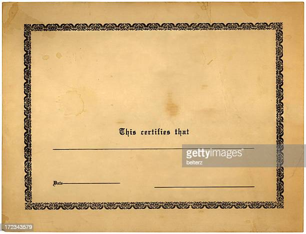 blank old certificate