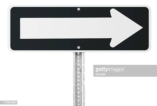 Blank one way sign with clipping path
