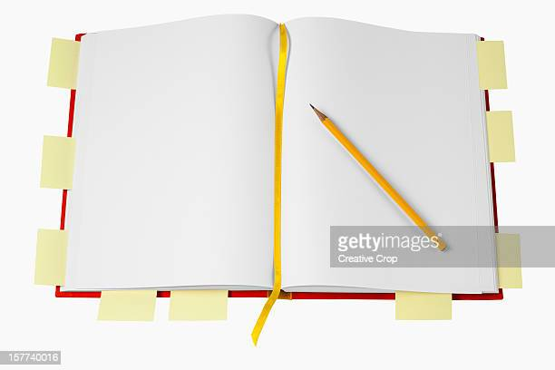 A blank open book with pencil