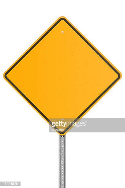 Blank orange traffic sign on white background