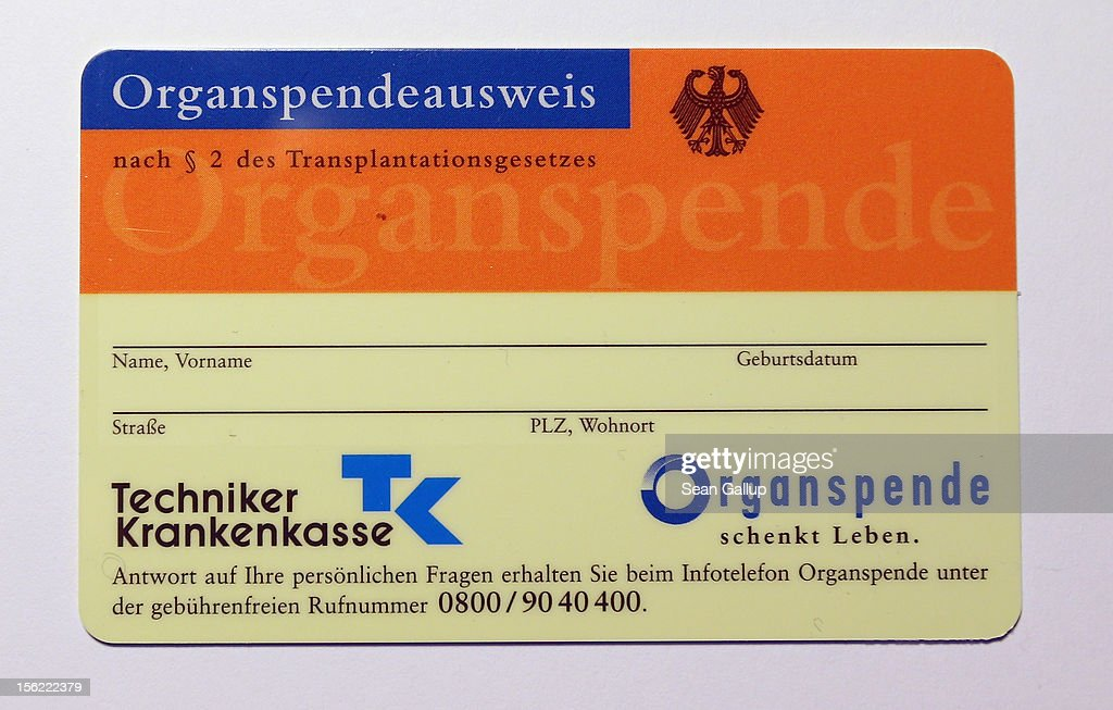 A blank organ donor's card (Organspendeausweis) from public health insurer Techniker Krankenkasse is seen on November 12, 2012 in Berlin, Germany. German health insurance companies are sending out the cards to their policy holders in an effort to get more people registered for organ donation. Demand for organs in Germany is high and waiting lists are long.