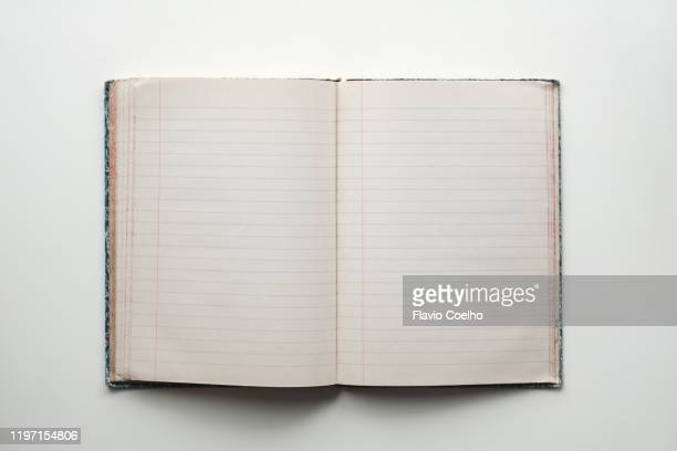 blank pages of an old notebook - diary stock pictures, royalty-free photos & images