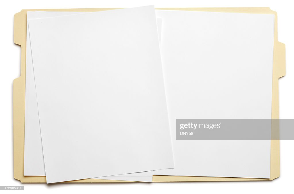 Blank paper in an open file folder on white background : Stock Photo