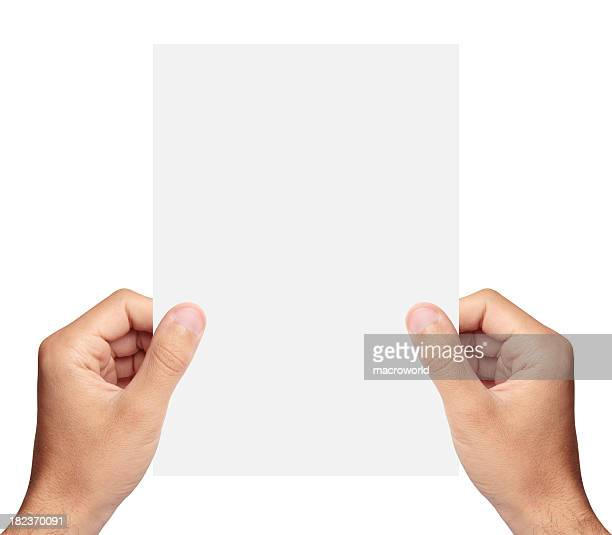 Blank paper in hand