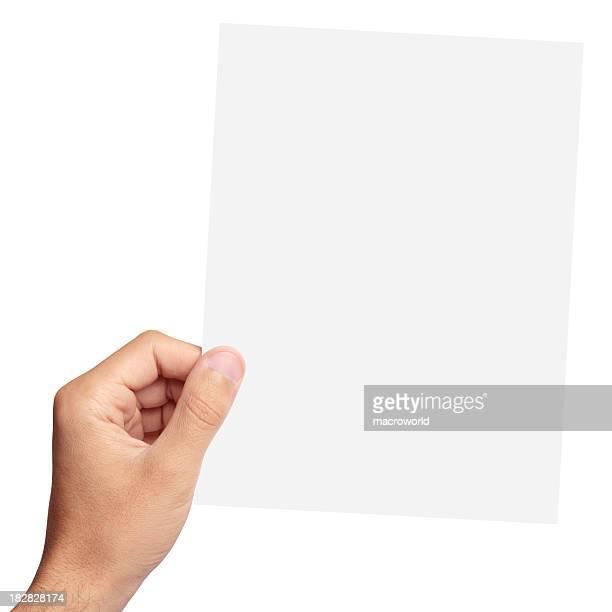 Papel em branco na Mão