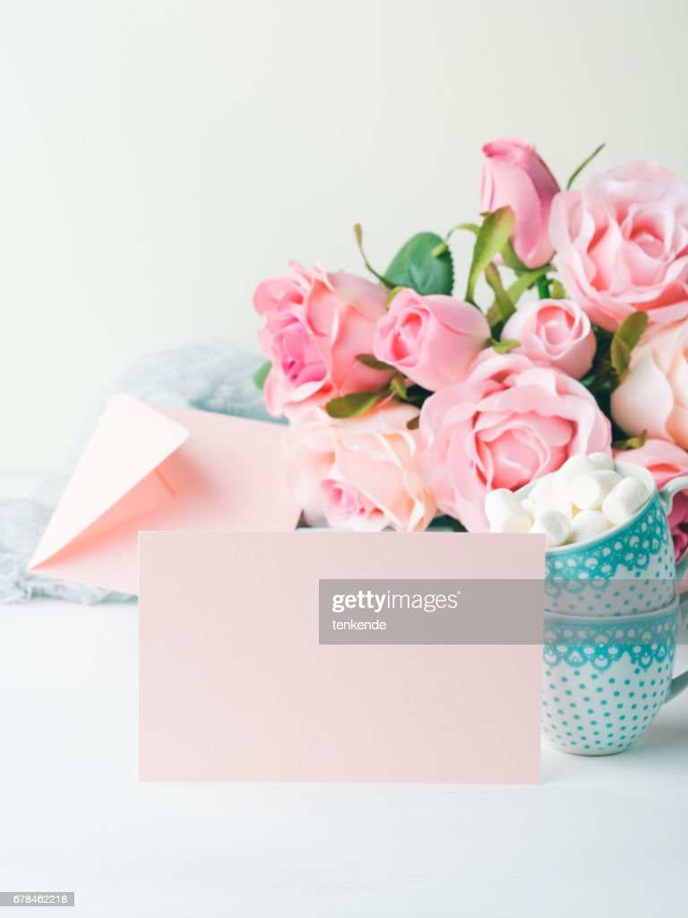 Blank Paper Pink Card Valentines Day Invitation Stock Photo Getty