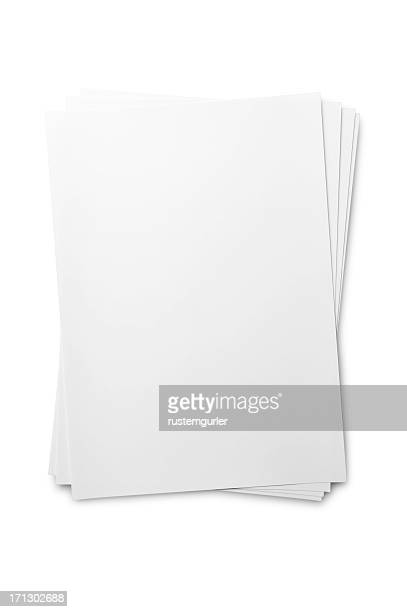 blank paper sheet on white - stack stock photos and pictures