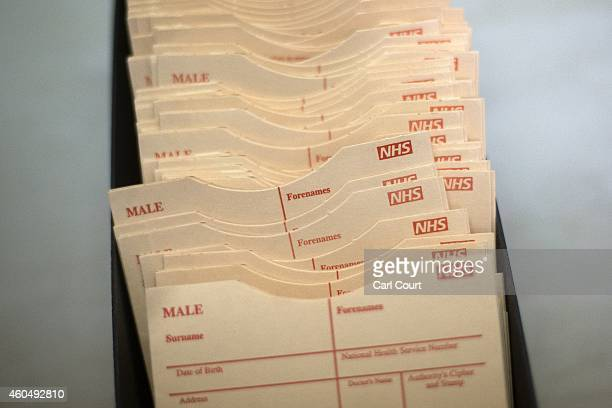 Blank patient record holders are pictured in a General Practitioners surgery on December 4 2014 in London England Ahead of next years general...