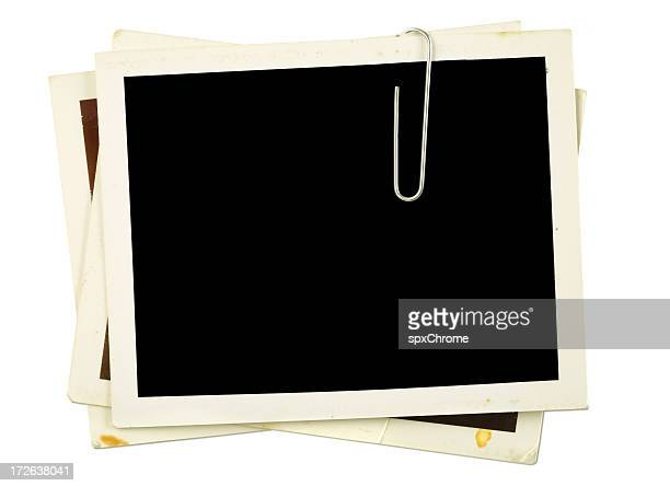 blank photo frames with paper clip and shadows - paper clips stock photos and pictures