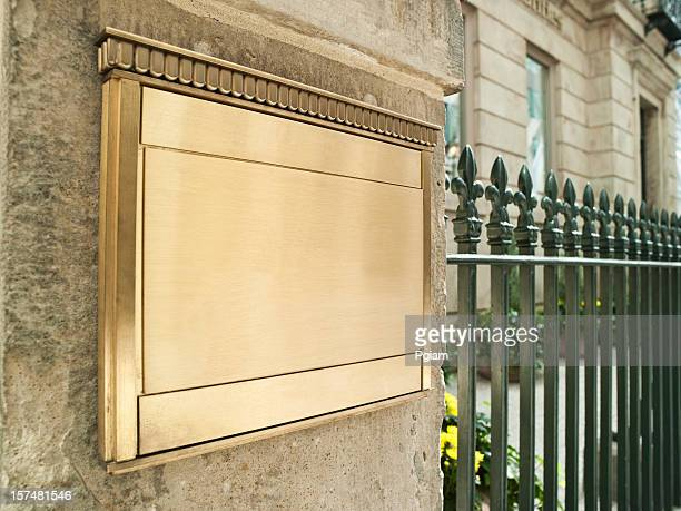 blank plaque on an important building - memorial plaque stock pictures, royalty-free photos & images