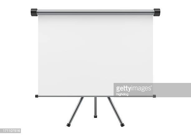 blank portable projection scree isolated on white  - projection screen stock pictures, royalty-free photos & images