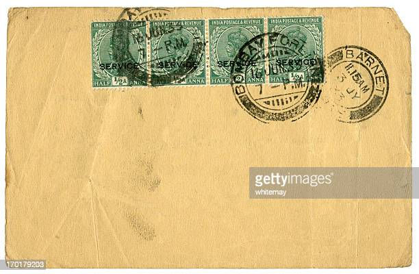Blank postcard from Bombay diverted via Barnet, England, 1933